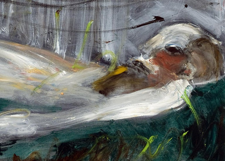 Michael Hafftka, Crushed, Holocaust related painting person lying in a field - Black Figurative Painting by Michael Hafftka