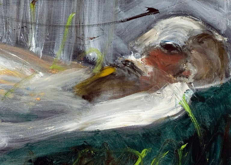Michael Hafftka, Crushed, Holocaust related painting person lying in a field For Sale 1