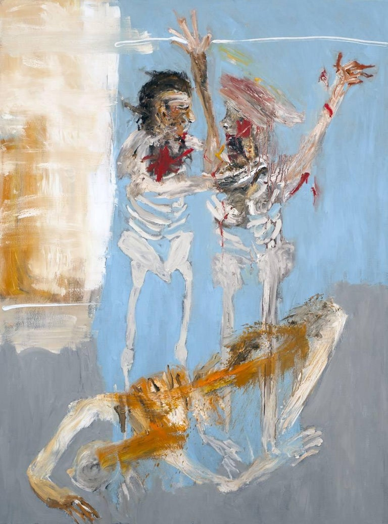 Life Goes On, Michael Hafftka. Expressionist figurative painting with war theme