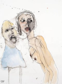 Secrets. Figurative watercolor of a whispering man & a female nude