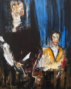 Big Brother, contemporary figurative oil painting of two men on black background