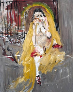 Undercover. Expressionist figurative oil painting of female nude on the street