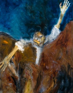 Fissure. Expressionist painting of man trapped by landscape, waving