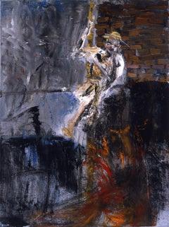 Escape. War painting, man trying to escape, tunnel, Holocaust related