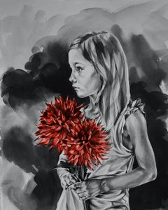 Girl With Dahlias