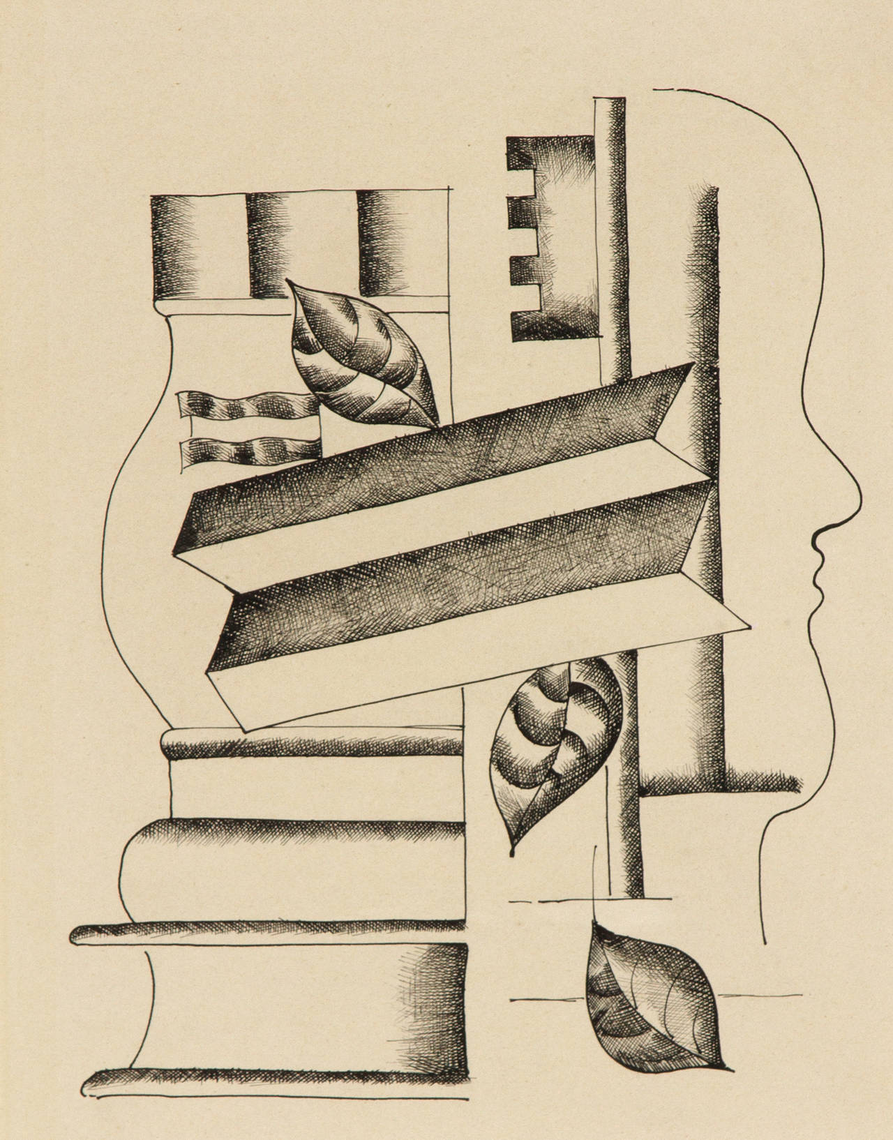 Fernand Léger Abstract Drawing - Profil, Vase et Clef