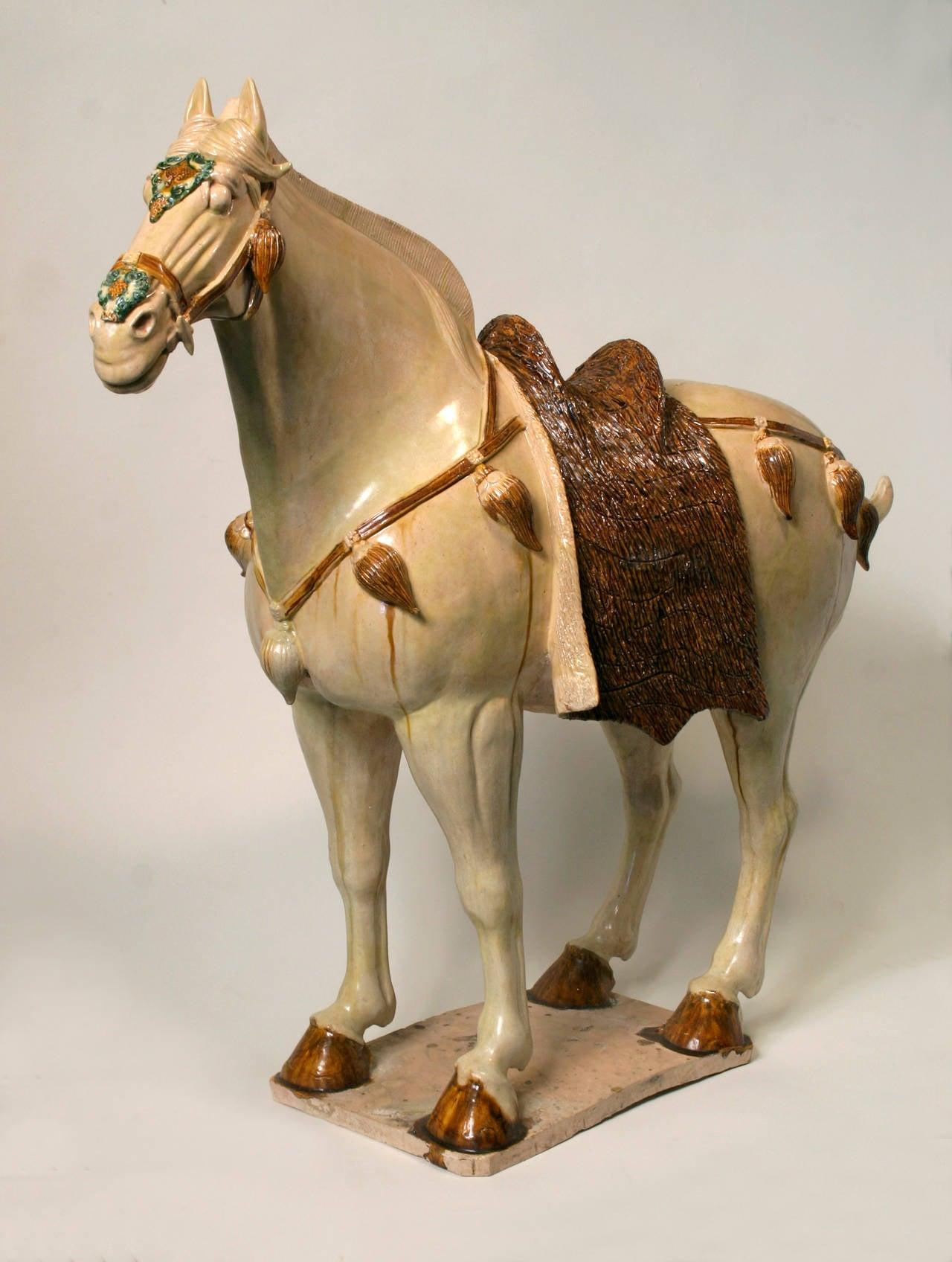 Sancai-Glazed Horse with Cut Fur Blanket
