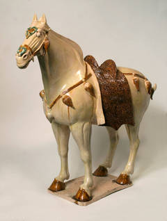 Sancai-Glazed Horse with Cut Fur Blanket