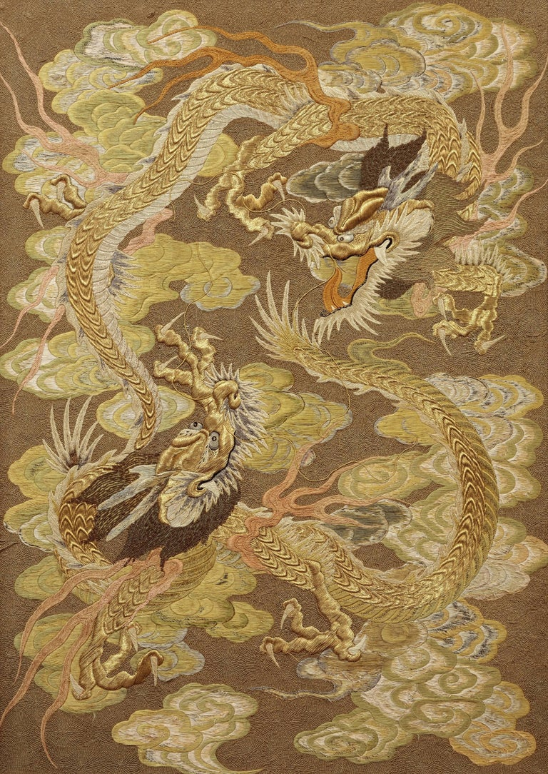 Silk Embroidery with Dragons - Art by Unknown