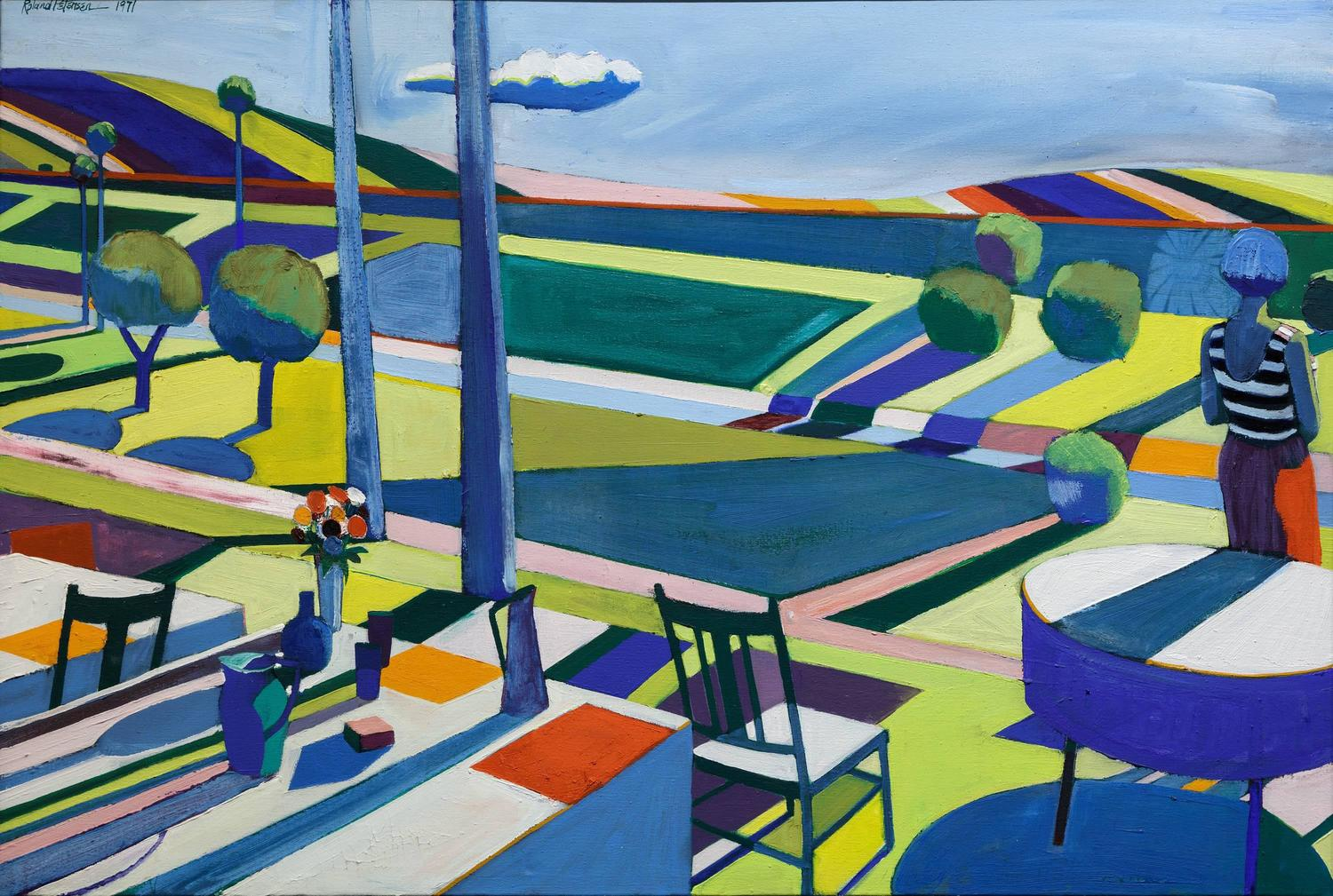 Roland Petersen Picnic With Cloud And Fields For Sale At 1stdibs