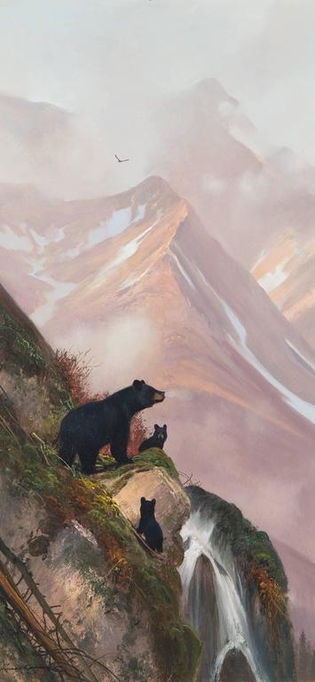 Michael Coleman Black Bear With Cubs Painting For Sale