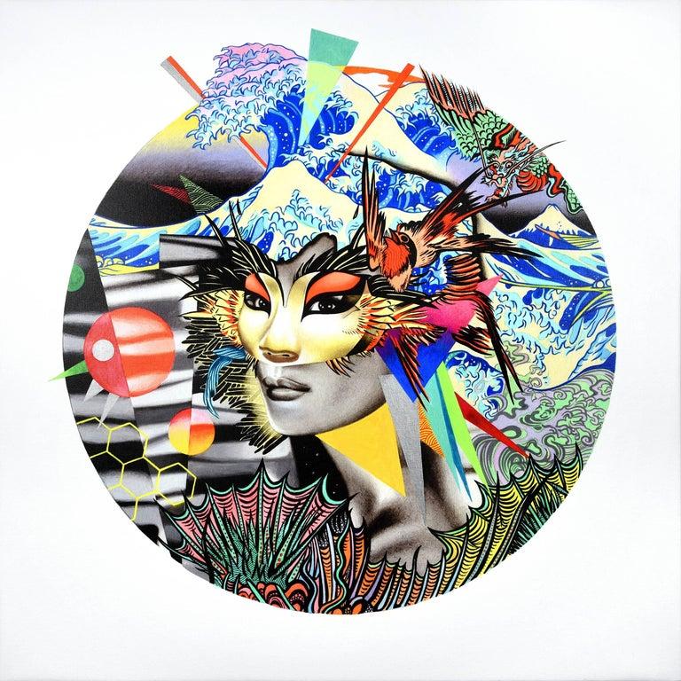 Peter Gerakaris Figurative Painting - Dragon Tsunami Mask Remix