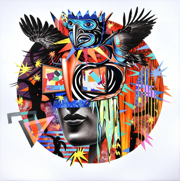 Peter Gerakaris Figurative Painting - Icarus Mask Remix