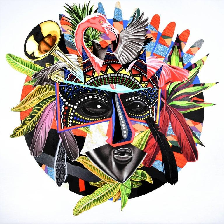 Peter Gerakaris Figurative Painting - Junkanoo Mask Remix
