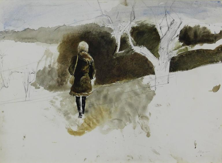 Andrew Wyeth Figurative Art - In the Orchard (Helga)