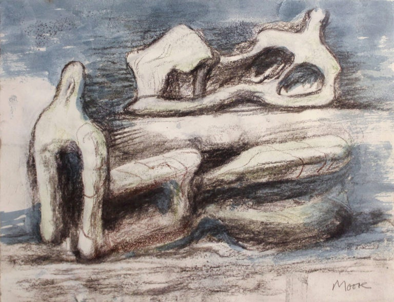 Henry Moore Figurative Art - Two Reclining Figures