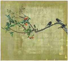 Orange tree and black birds