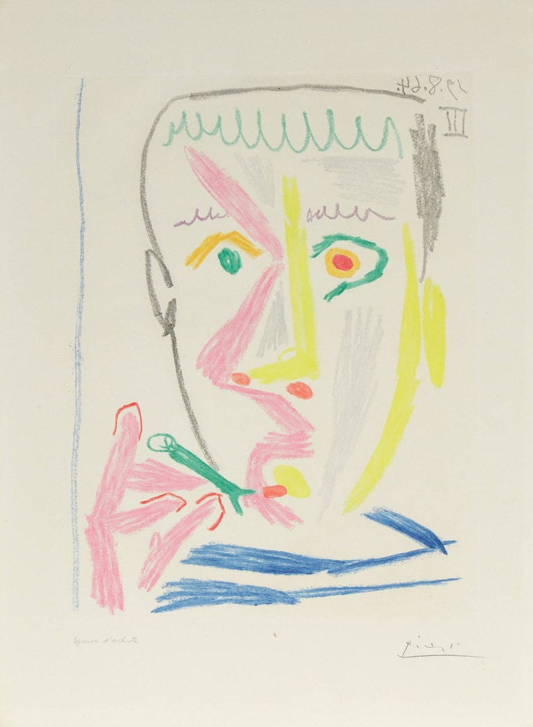 """An aquatint and soft-ground etching in colors by Pablo Picasso. Depicting a man smoking a cigar or cigarette, this etching is executed in colors of aqua, bleu, yellow, pink and grey. Signed in pencil lower right, """"Picasso"""". Marked lower left"""