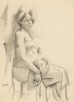 Seated Woman, black and white drawing c. 1920