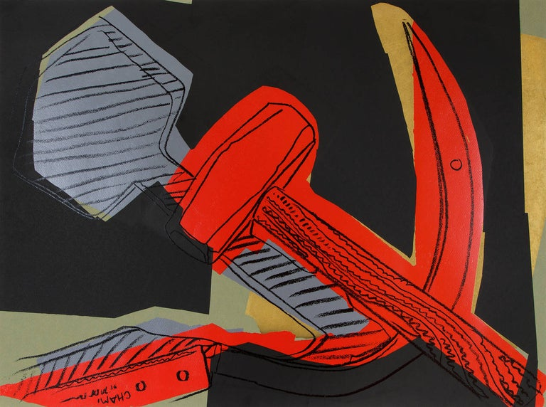 """A screen print by Andy Warhol. """"Hammer & Sickle"""" is a screen print depicting a grey hammer and bright red sickle on a black background by Pop Artist Andy Warhol. Warhol Foundation stamps on verso. Unique TP apart from edition of 50 +10"""