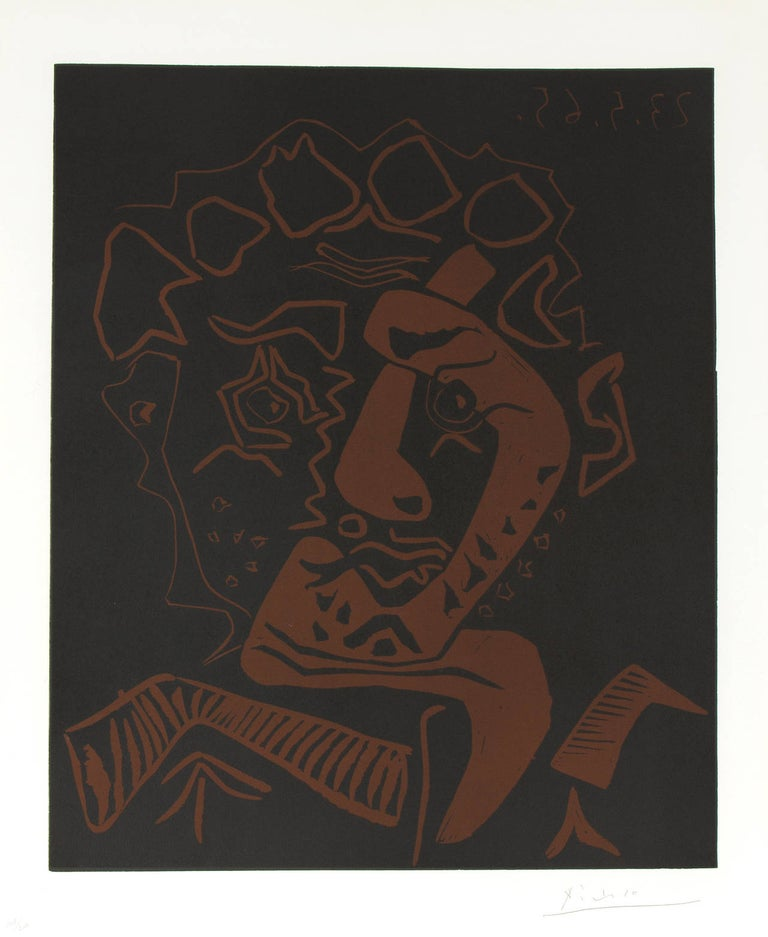 """An abstract portrait, linocut in colors, by Pablo Picasso. Signed in pencil lower right, """"Picasso"""". Numbered in pencil lower left, """"101/200"""". Dated in the plate in reverse upper right, """"23.5.62""""  image:  25 x 20 3/4 in. sheet:  29 1/2 x 24 3/8"""