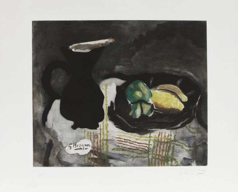 """etching and aquatint in colors image: 14 3/4 x 17 3/4 in. sheet: 19 3/4 x 24 5/8 in. Signed in pencil lower right, """"G Braque"""". Numbered in pencil lower left, """"59/200"""" """"5563"""". Provenance: Private Collection, London"""