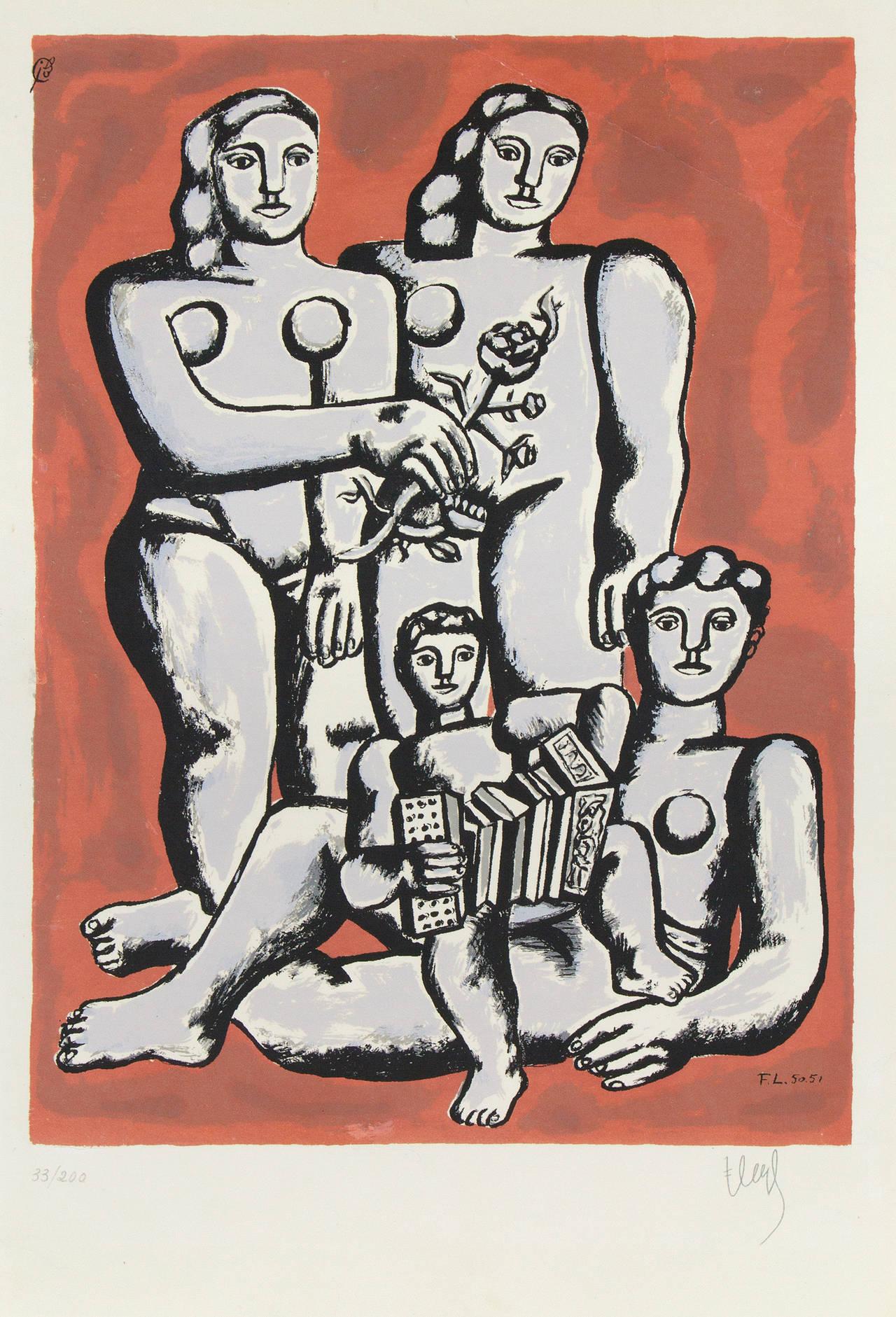 Fernand Léger Portrait Print - Femmes et Enfants a l'Accordeon