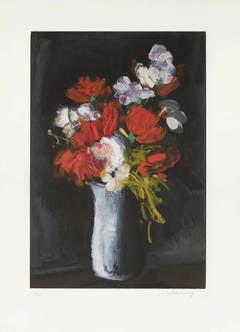 Vase de Fleurs Sur Fond Noir