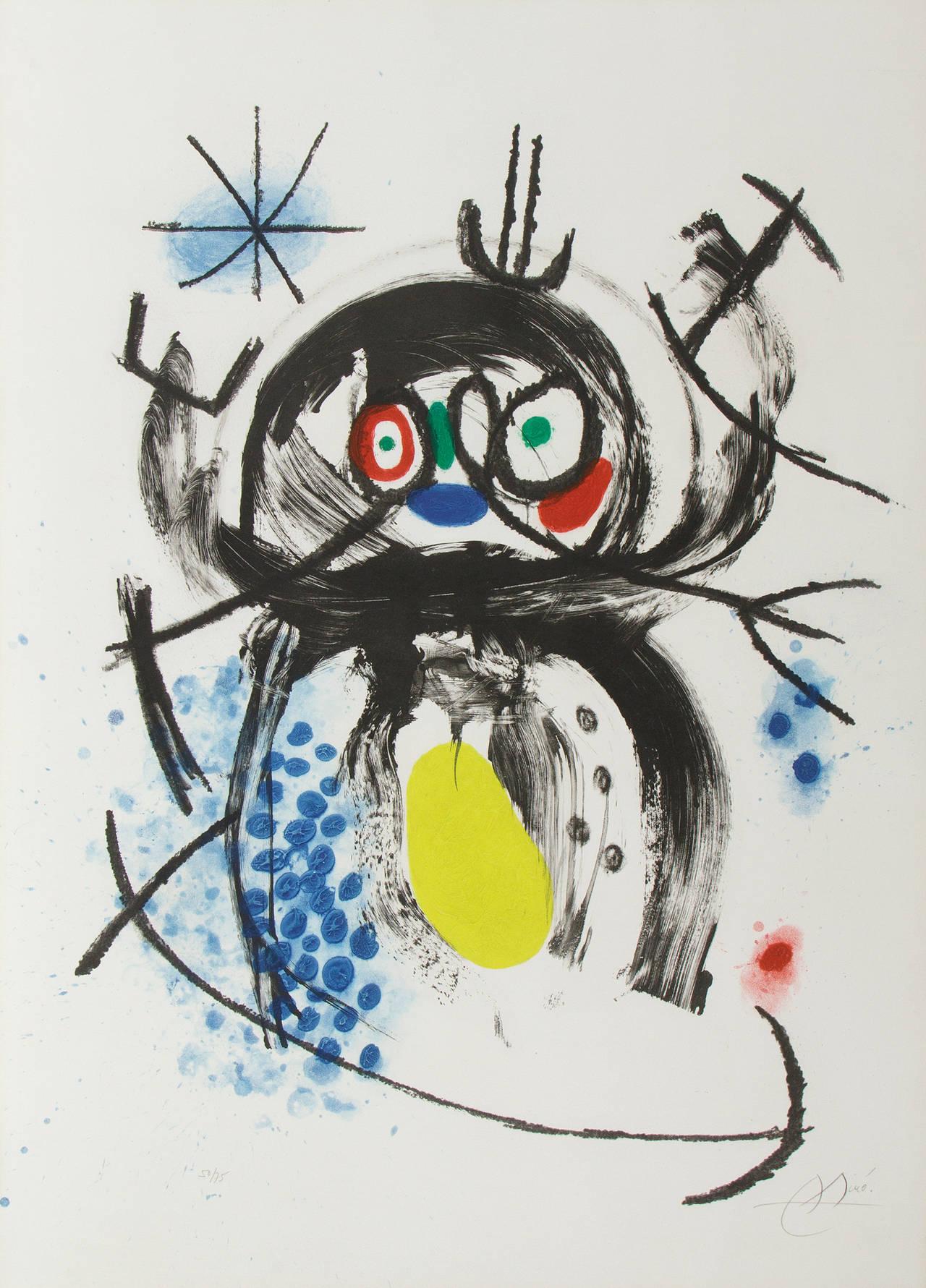 Joan Miró Figurative Print - L'Automobiliste a Mustaches