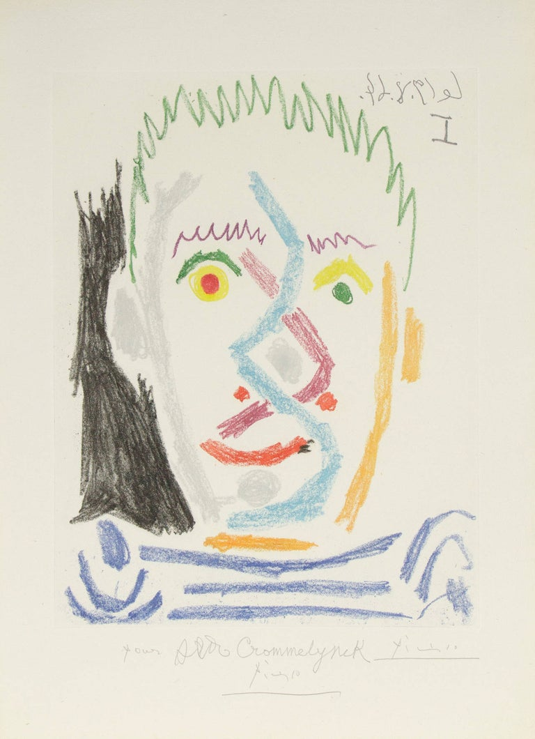 """An aquatint and soft-ground etching in colors by Modern artist Pablo Picasso. Signed lower middle, """"Picasso"""". Dedicated lower middle in pencil, """"Pour Aldo Crommelynck, Picasso"""". Dated upper right in the plate in reverse, """"14.8.64"""". 1/15 AP, edition"""