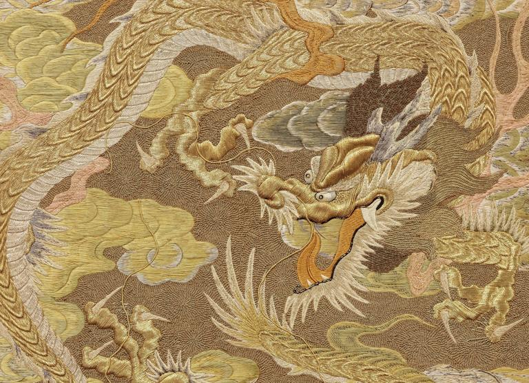 Silk Embroidery with Dragons - Other Art Style Art by Unknown