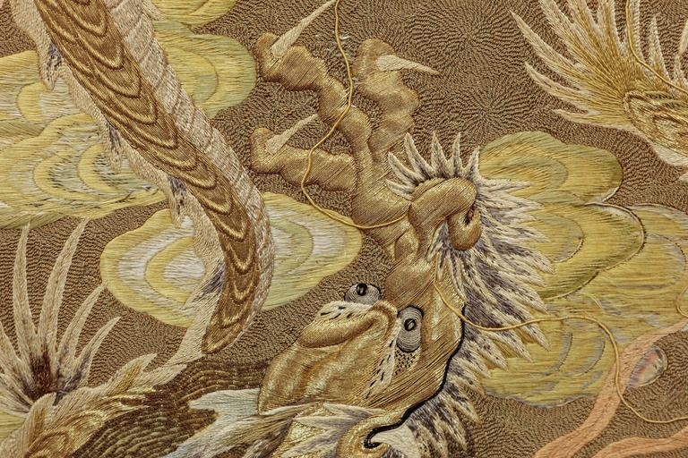 Silk Embroidery with Dragons For Sale 1