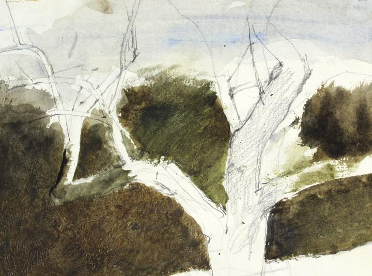 A dry brush and watercolor on paper painting by American artist Andrew Wyeth.