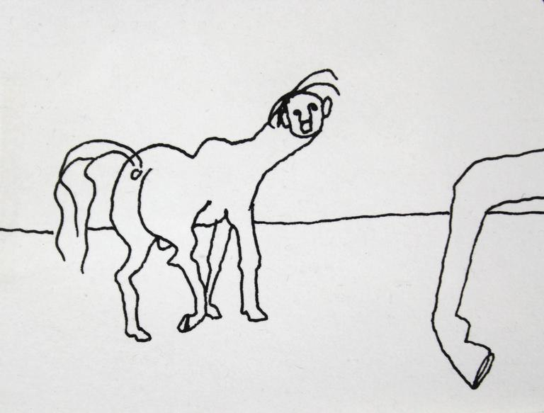 A pen and ink on paper by Post War artist Alexander Calder. This untitled pen and ink work depicts an anthropomorphic horse on a gallop with the face of a woman, eight breasted, her hair flowing behind her like a mane. This work is registered in the