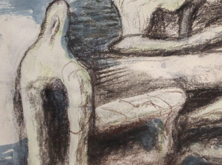 Two Reclining Figures - Gray Figurative Art by Henry Moore