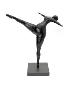 The Dancer - Slate resin on green slate base sculpture of a female dancer black
