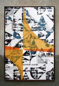 Untitled 025 - Geometric Abstraction with white, yellow, black and blue
