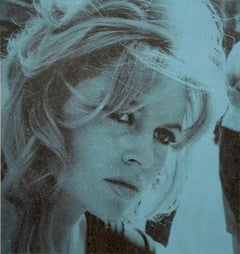 Brigitte Bardot Diamond Dust - Blue Screen print on paper with diamond dust