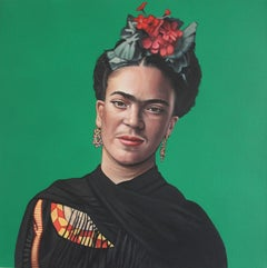 Frida Kahlo - Colorful portrait painting with green of artist, hyperrealist