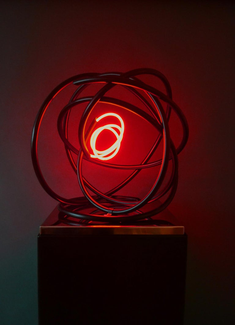 Red neon Orb sculpture, copper, mirror polished stainless steel plinth