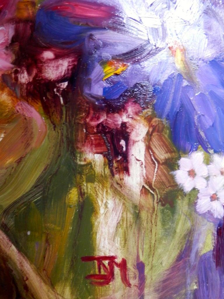 Izzy Miller Iris Flower Painting Still Life Of Blue Irises Red