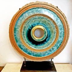 Creatio Continua 1 - Crystal Glaze, 24k gold, ceramics sculpture