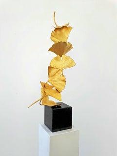 7 Golden Gingko Leaves - Cast Brass sculpture on black granite base