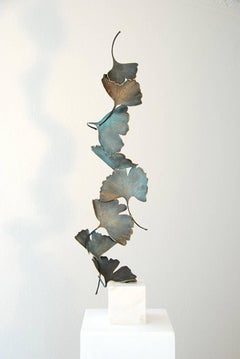 Bronze Gingko -  8 leaves sculpture on white marble base