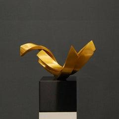 Balance - Golden polished Bronze sculpture on granite base