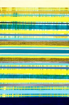 Lemon Jazz - Striped abstract painting