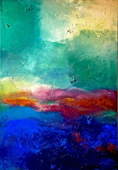 Blue and Green Nature - Sea Sunset abstract landscape painting
