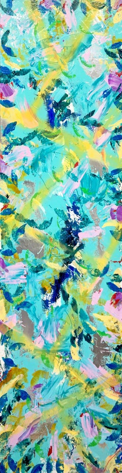 A Glint of Summer - Abstract painting with Silver on Wood