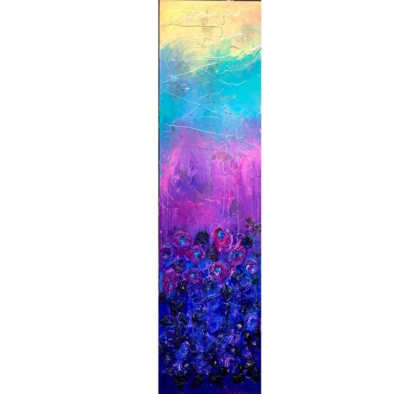 Flower Garden - Abstract floral painting with texture on Wood