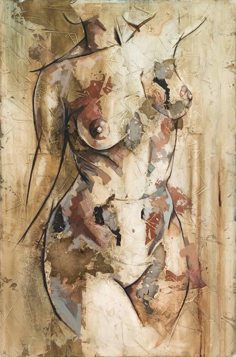 Shape by Francisco Jimenez - Mixed Media, Abstract Nude Figurative Painting